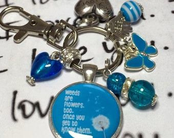 """Eeyore quote keyring, Eeyore quote keychain, Eeyore keyring , """"weeds are flowers too when you get to know them"""""""