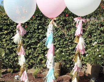 36 inch Balloon tissue paper Tassel // Pink, Gold, Ivory paper tissue tassel // Baby Shower // Wedding // Birthday