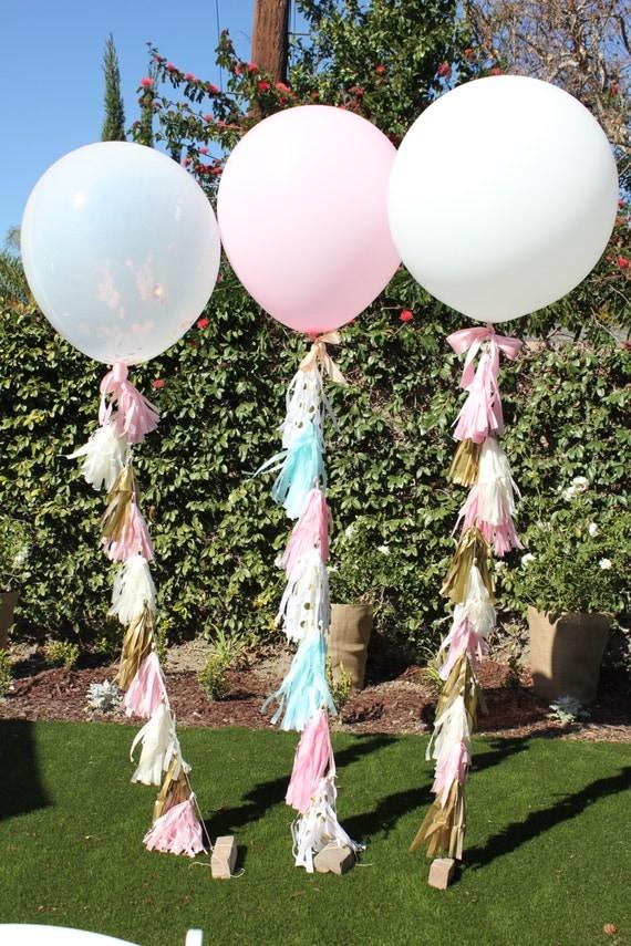 Inch Balloon Tissue Paper Tassel Pink Gold Ivory