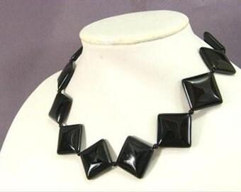 Necklace Black onyx 30mm Rhombus 925 NSNX5431