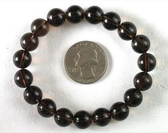 Bracelet Smokey Quartz 10mm Round Beads stretch BSSQ0862