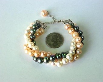 Bracelet FW Pearls 3 Strands White Champagne, grey 9mm BHPX0016