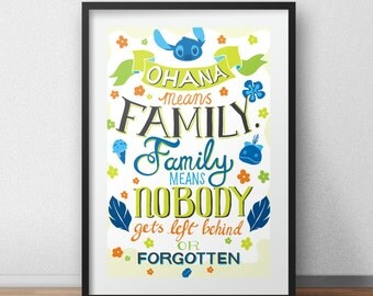 Disney Lilo And Stitch Ohana Means Family Typography Quote Poster Art Print