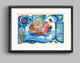 Studio Ghibli Castle In The Sky Laputa Art Nouveau Poster Print