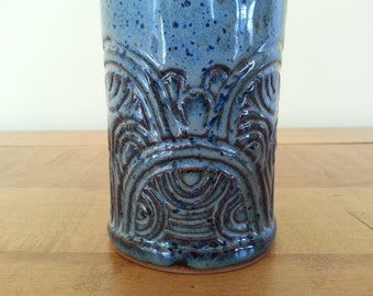 Handmade Stoneware Pottery Carved Vase with Buttons