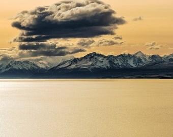 Landscape Fine Art Print, New Zealand, Lake Pukaki at sunset