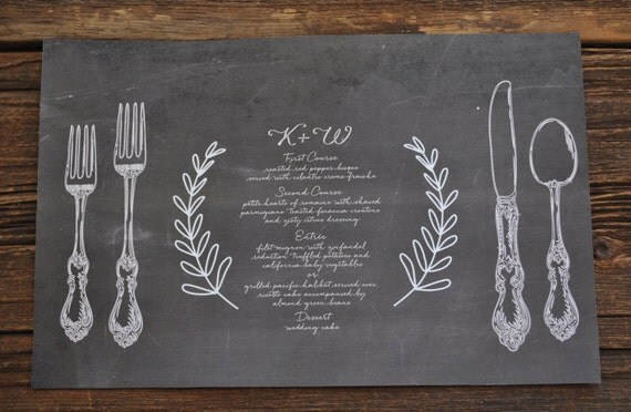printable chalkboard placemat 11x17 great for wedding or