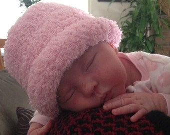 Hand Knit Baby Hat New Born Cozy Pink, Blue and Pink and White Hand Knit