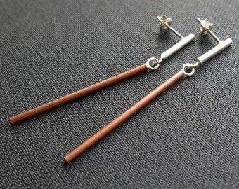 Earstuds, bars, brass or copper