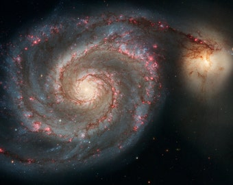 Whirlpool Spiral Galaxy, M51, NGC 5194 NGC 5195 Giclee photo print fine art Hubble Space Telescope Poster Astronomy