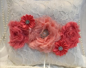 Coral ring pillow/ring boy pillow/wedding pillow/wedding ring pillow
