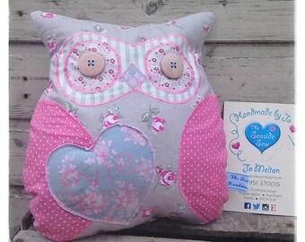 Adorable Handmade Softie Owl Cushion Pink