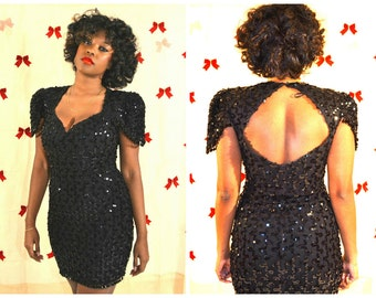 vintage party dress/ vintage sequin dress/ vintage beaded dress/ 90s dresses/ size 10