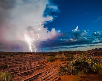 Desert Lightening   weather landscape fine art lightening mother nature desert beauty