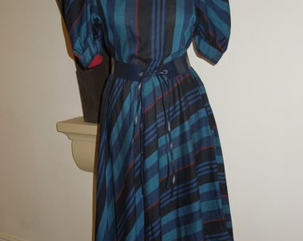Vintage green striped dress with matching belt