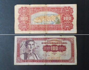 Banknote, 100 Dinara, part of collection, Yugoslavia Paper Money, 1963 Issues