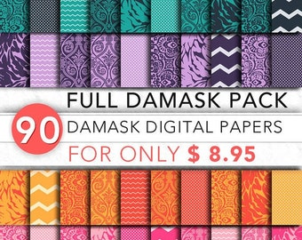 Damask Digital Paper FULL Pack,90 x digital damask paper,damask paper,damask pack,instant download Fld001