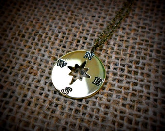 Compass Charm Necklace - Compass Pendant Polished Brass
