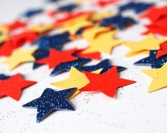 Star shaped table confetti, Super hero party decor, glitter stars