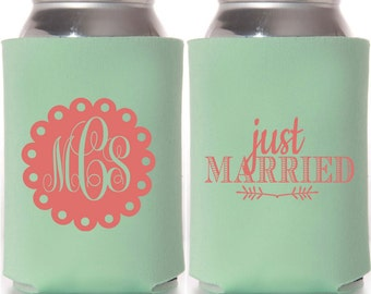 """Custom """"Just Married"""" Wedding Can Coolers"""