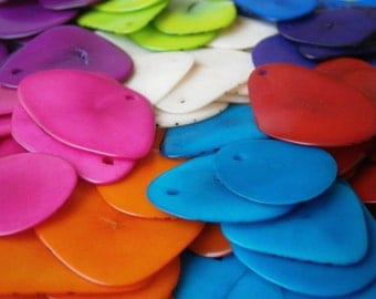tagua slices ecofriendly beads bohemian beads thin slices wholesale LOT of 70