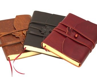 Leather journal with Lace-striped Page-various colors