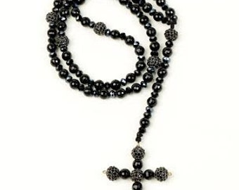 Black Onyx Swarovski Crystal Cross Rosary