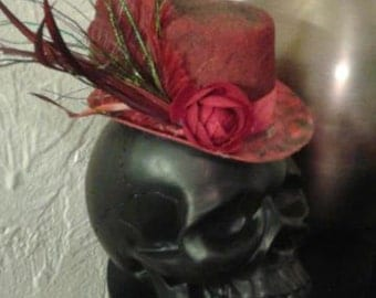 Red fascinator top hat