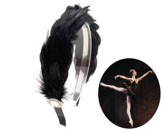 Black Swan Feathers Headband Rhinestone Ballet Headpiece Hair Accessories