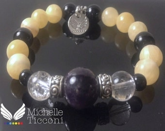 Natural Amethyst, Quartz, Jade and Onyx Stretch Bracelet w/Angel Wings Charm for Love - Money- Prosperity- Success- Wealth- Protection- Yoga