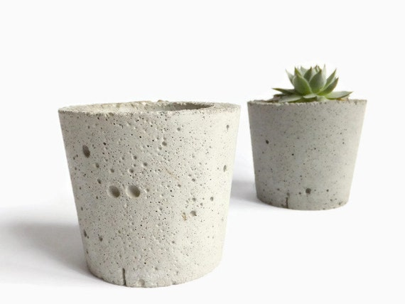 Mini Concrete Planters : Concrete mini planter small round pot for succulent by