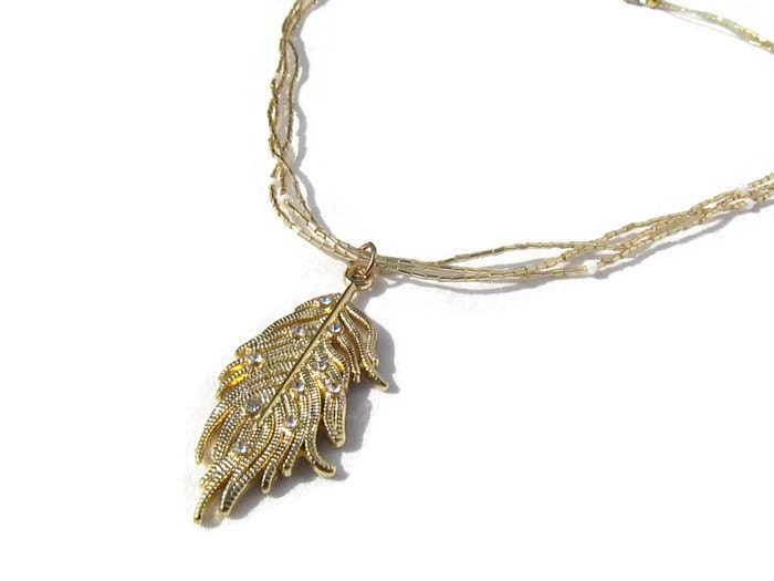 delicate gold necklace gold feather necklace beaded feather