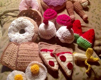 Crocheted Play kitchen food