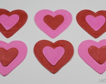 Pink and Red Fondant Valentines Heart Toppers