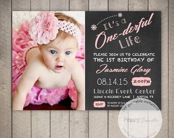 One Year Birthday Party Invitations - Custom Printable