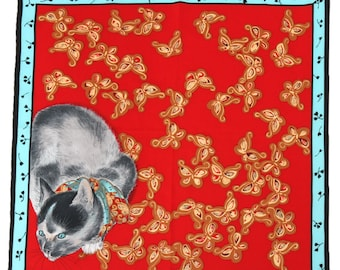 Cat watching a spider printed Red small scarf The metropolitan museum of art Ōide Tōkō painting art scarf