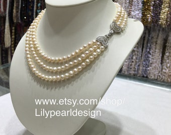 6~7mm freshwater pearl multi-strand necklace