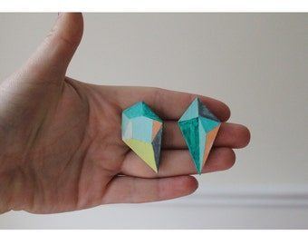 Asymetrical Geometric Jewel Earrings