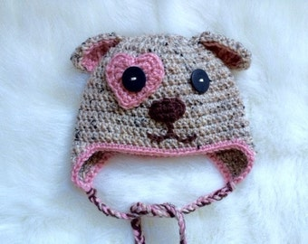 READY TO SHIP crochet puppy dog hat baby girl pink heart Size 6-9 months