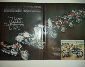 Vintage Print Ad 1969 : Harley Davidson Motorcycles Baja 100 2 Page Advertisement Wall Art Decor Color