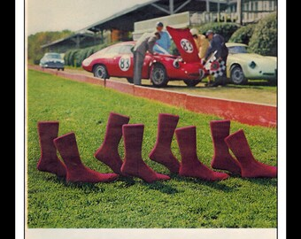 "Vintage Print Ad February 1963 : Interwoven Socks Race Cars Indy Fashion Clothing Wall Art Decor 8.5"" x 11"" Advertisement"