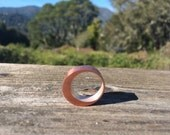 Crescent Moon Hollow Form Ring Copper Based with a Silver Band