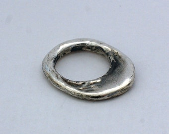 Sterling Silver Ring thin silver ring Oxidised silver sculpture ring
