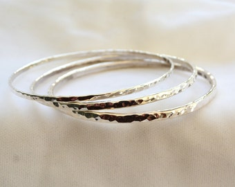 3-pack 3.3mm Width Sterling Silver Bangles
