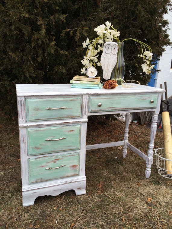 Items Similar To Sold Desk Nautical Green Drawers Home Office Distressed Rustic Antique