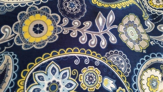 Navy Paisley Fabric Navy Blue Yellow Paisley