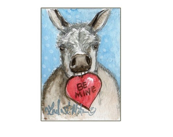 Gray Burro Valentines Day llmartin Original ACEO  Watercolor
