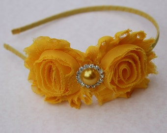 Golden yellow headband, mustard headbands, toddler mustard yellow wedding headband, metal girls headband, toddler hard headband flower girl
