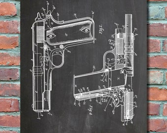 Browning Colt 45 1911 Handgun Wall Art, Patent Print, Blueprint, Patent Poster, Plexity Prints #016