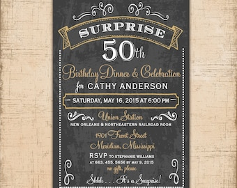 50th Birthday Invitation Surprise, gold and black, Birthday party dinner, Anniversary/printable/Digital File/Wording & Colors can be changed